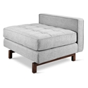 Gus* Modern Jane 2 Lounge with Bayview Silver Fabric and Walnut Stained Ash Wood Base