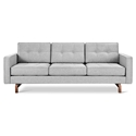 Gus* Modern Jane 2 Sofa with Bayview Silver Fabric Upholstery and Solid Walnut Finish Wood Base