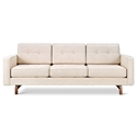 Gus* Modern Jane 2 Sofa with Huron Ivory Fabric Upholstery and Solid Walnut Stained Ash Wood Base