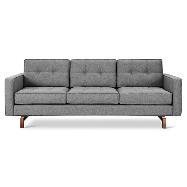 Gus* Modern Jane 2 Sofa with Parliament Stone Fabric Upholstery and Solid Walnut Stained Ash Wood Base