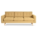 Gus* Modern Jane 2 Sofa with Stockholm Camel Fabric Upholstery and Solid Natural Ash Wood Base