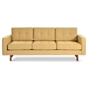 Gus* Modern Jane 2 Sofa with Stockholm Camel Fabric Upholstery and Solid Walnut Stained Ash Wood Base