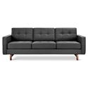 Gus* Modern Jane 2 Sofa with Urban Tweed Ink Fabric Upholstery and Solid Walnut Stained Ash Wood Base