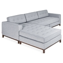 Gus* Modern Jane Wood Base Bi Sectional in Bayview Silver Fabric Upholstery