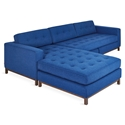 Gus* Modern Jane Bi Sectional in Stockholm Cobalt Fabric Upholstery With Walnut Wood Base