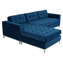 Jane Contemporary Bi-Sectional Sofa by Gus* Modern in Velvet Midnight
