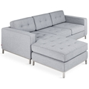 Gus* Modern LOFT Bi Sectional in Bayview Silver Fabric Upholstery with Stainless Steel Base