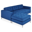 Gus* Modern Jane LOFT Bi Sectional Sofa In Stockholm Cobalt With Brushed Stainless Steel Base