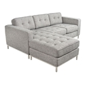 Jane Contemporary Loft Bi-Sectional Sofa in Sterling Gravel by Gus* Modern