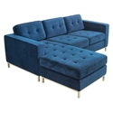 Jane Contemporary Loft Bi-Sectional Sofa in Velvet Midnight by Gus* Modern