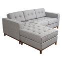 Jane Contemporary Loft Walnut Bi-Sectional Sofa in Parliament Stone by Gus* Modern