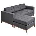 Jane Contemporary Loft Walnut Bi-Sectional Sofa in Urban Tweed Ink by Gus* Modern