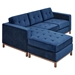Jane Contemporary Loft Walnut Bi-Sectional Sofa in Velvet Midnight by Gus* Modern