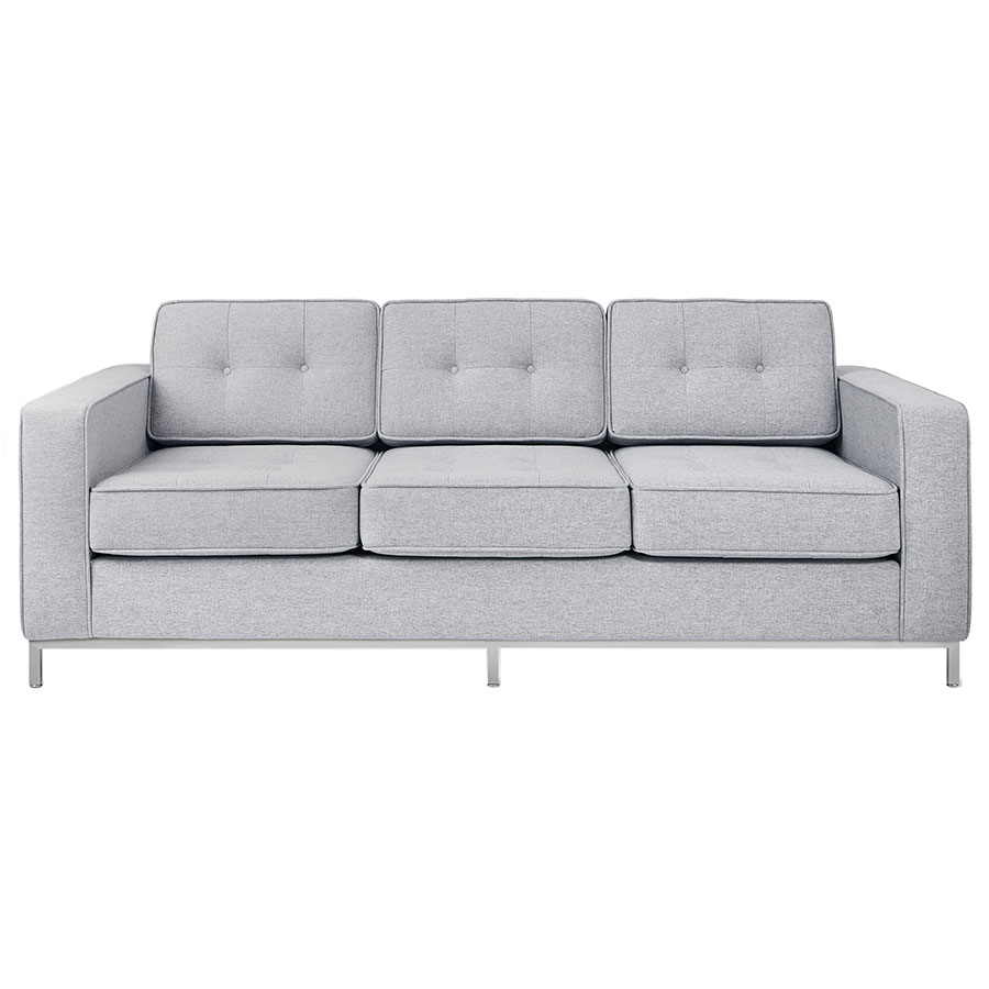 Call To Order · Gus* Modern Jane Sofa In Bayview Silver Fabric Upholstery  With Steel Base