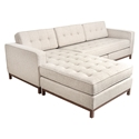 Jane Contemporary Walnut Bi-Sectional in Leaside Driftwood by Gus* Modern