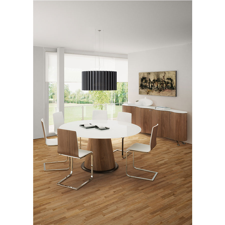 ... Jasmine Chrome + Walnut + White Modern Dining Chair ...
