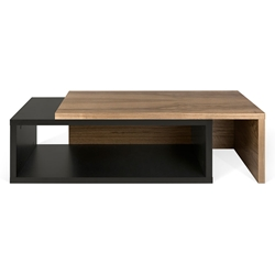 Jazz Black + Walnut Modern Adjustable Coffee Table
