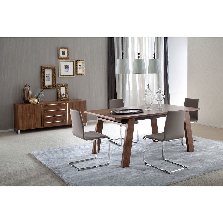 ... Jean Chrome + Taupe Contemporary Side Chair ...