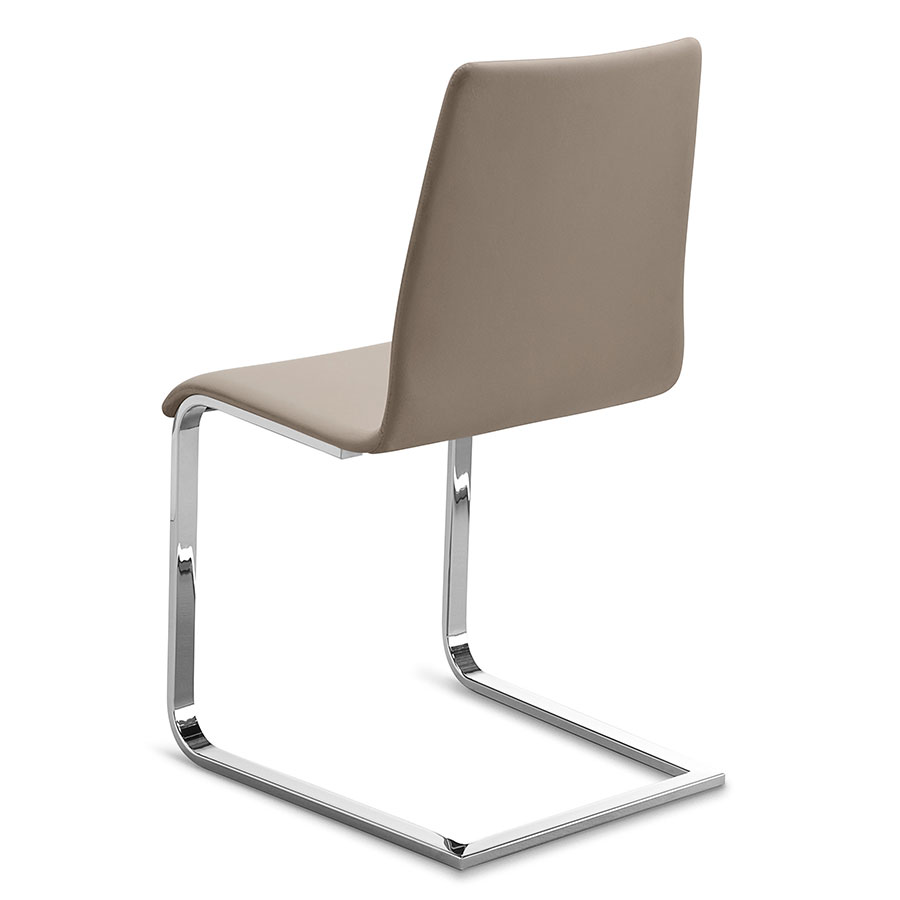 Perfect Jean Chrome + Taupe Modern Dining Chair
