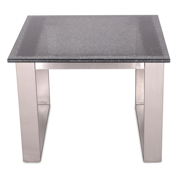 Jeffrey Modern End Table - Stainless + Smoked Crackled Glass