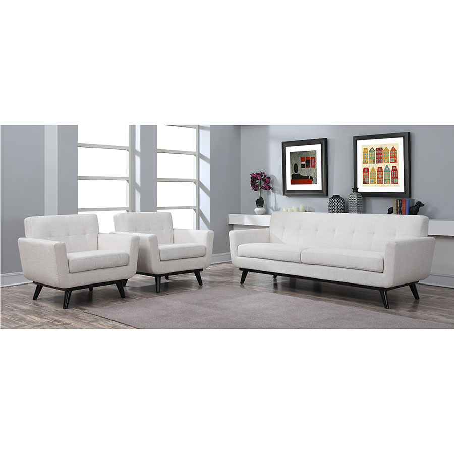 Jerome Beige Linen Contemporary Sofa Arm Chairs