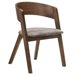 Jersey Modern Grey Fabric + Walnut Dining Chair