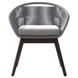 Modloft Jesper Light Gray Cord + Gray Fabric + Weathered Eucalyptus Modern Indoor + Outdoor Dining Chair