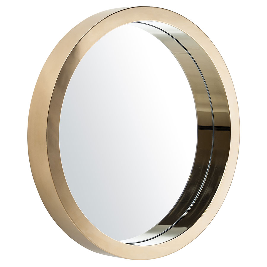 call to order jewels 24 round gold steel modern wall mirror - Modern Mirrors
