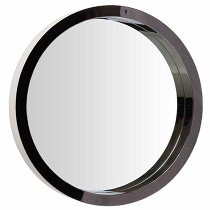 "Julia 24"" Round Polished Steel Modern Wall Mirror"