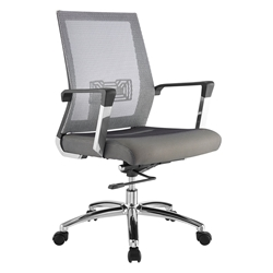 Joaquin Gray Fabric + Mesh and Chrome Modern Office Chair