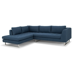 Joliet Left Facing Lagoon Blue Fabric Upholstery + Brushed Steel Modern Sectional Sofa
