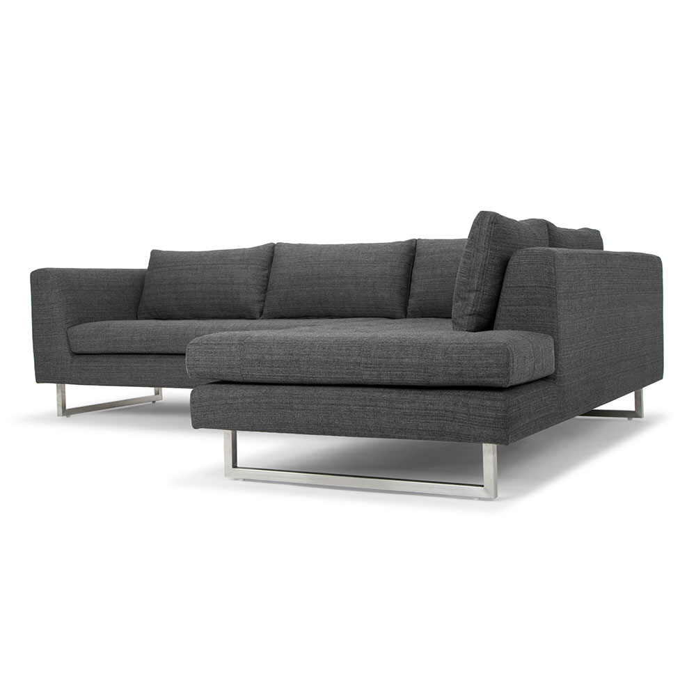 Janis Right Facing Dark Gray Tweed Sectional By Nuevo Eurway