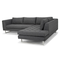 Joliet Right Facing Dark Gray Fabric Upholstery + Brushed Steel Modern Sectional Sofa