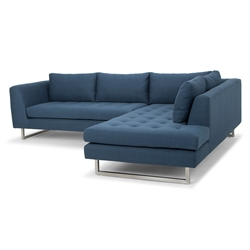 Joliet Right Facing Lagoon Blue Fabric Upholstery + Brushed Steel Modern Sectional Sofa
