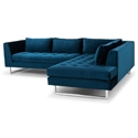 Janis Right Facing Blue Fabric Upholstery + Brushed Steel Modern Sectional Sofa