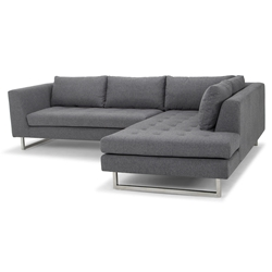 Joliet Right Facing Shale Gray Fabric Upholstery + Brushed Steel Modern Sectional Sofa