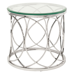 Jory Polished Steel + Clear Glass Round Modern End Table