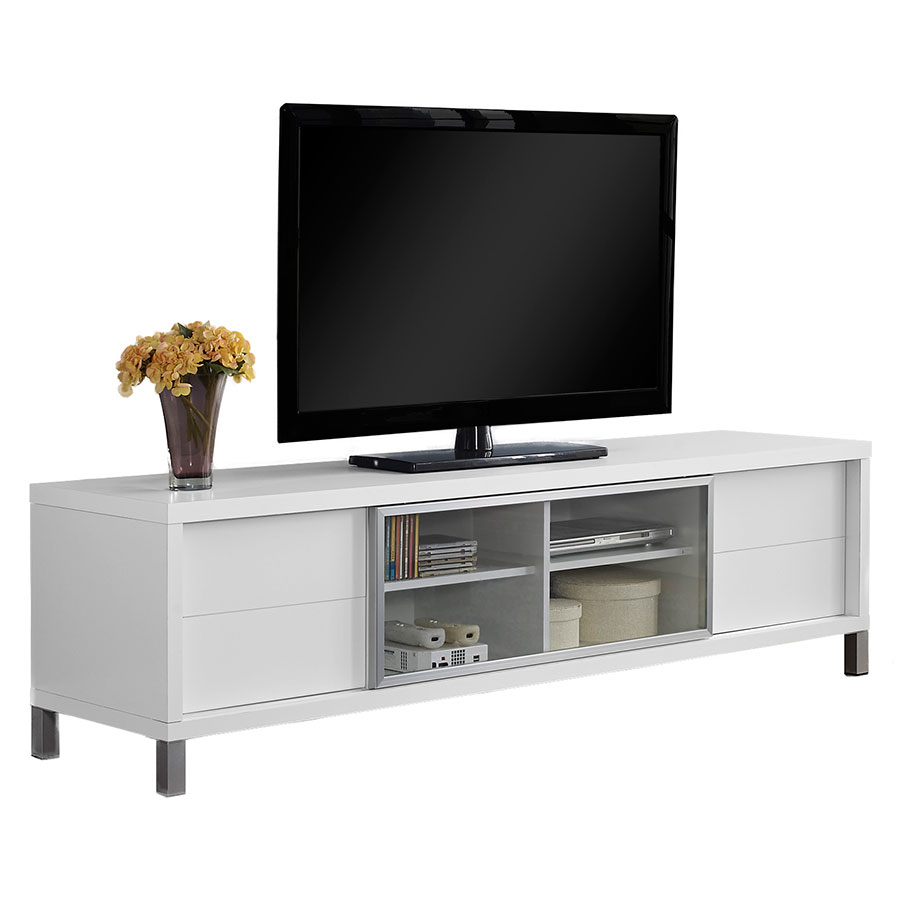 Josh Modern White TV Stand w/ Storage Drawers