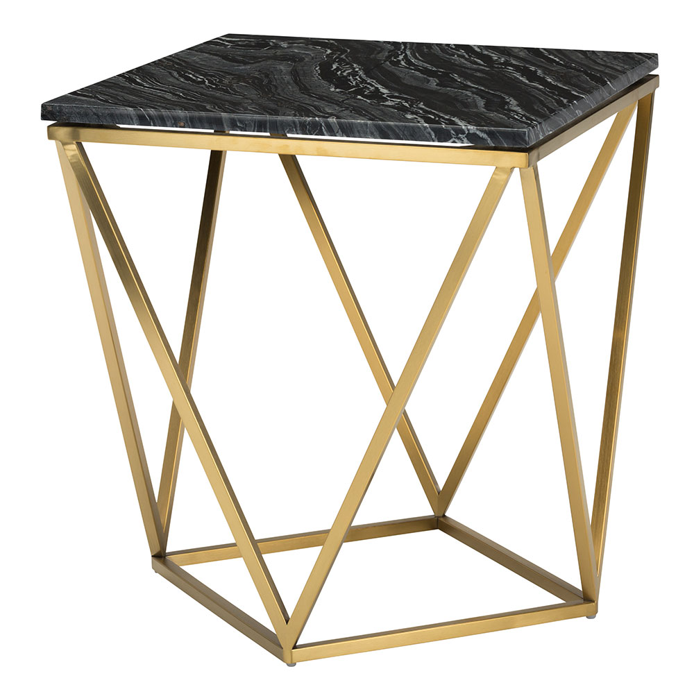 Jasmine Black Marble + Gold Steel Modern Side Table