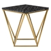 Joshua Black Marble + Gold Steel Modern Side Table - Front