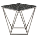 Joshua Black Marble + Polished Steel Modern Side Table