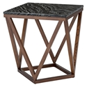 Joshua Black Marble + Walnut Wood Modern Side Table