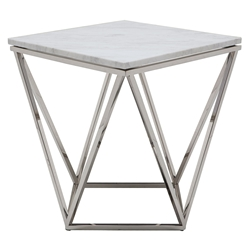 Joshua White Marble + Polished Steel Modern Side Table