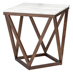 Joshua White Marble + Walnut Wood Modern Side Table