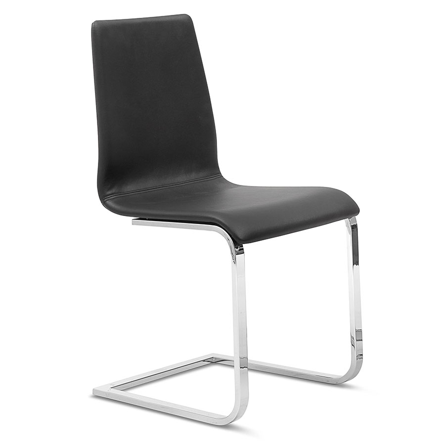 Jude-sp Chrome + Black Modern Dining Chair by Domitalia