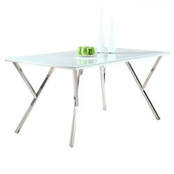 Judson Modern White Glass Dining Table