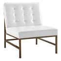 Juneau White + Gold Modern Lounge Chair