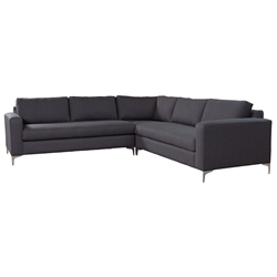 Juniper Charcoal Fabric Upholstery + Brushed Stainless Steel Modern Sectional Sofa