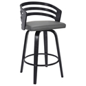 Joanna Modern Black Wood + Gray Faux Leather Counter Stool