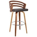 Joanna Modern Walnut + Brown Faux Leather Counter Stool